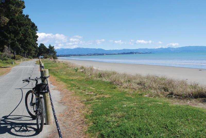 bike on beach in Mapua