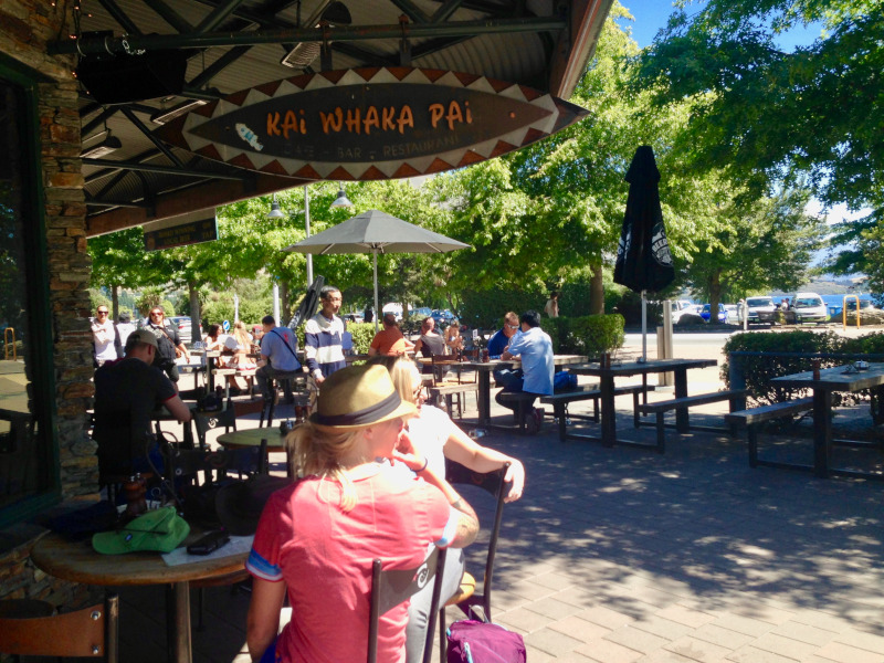 relaxing in a Wanaka cafe