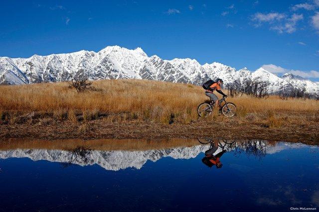 biking through the mountains