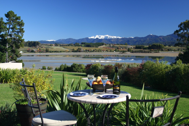 setting overlooking scenery with food and wine