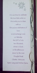 gay wedding invitation to our civil union in Vermont 2000