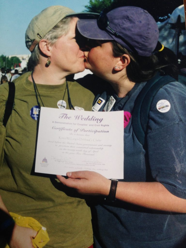 Celebrating our mock gay wedding at the Millenium March in Washington DC in 2000