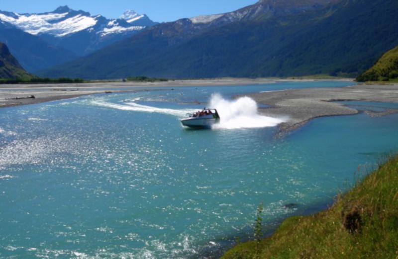 Wanaka River Joiurneys jet boat in river