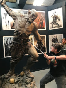 Mary with a statue of Azog