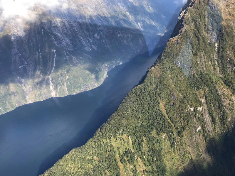 view from airplane of the sheer cliff faces of Milford Sound