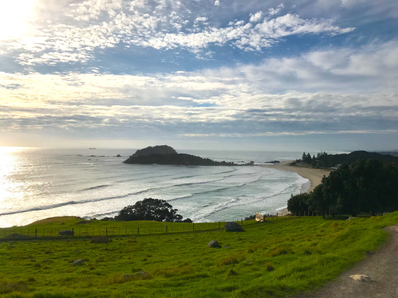 View from the top of Mount Maunganui over the beach