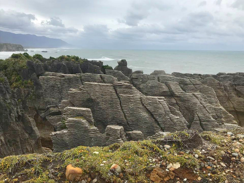 view of pancake rocks at Punakaiki