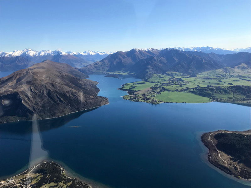 view from airplane over Lake Wanaka on the way to Milford Sound
