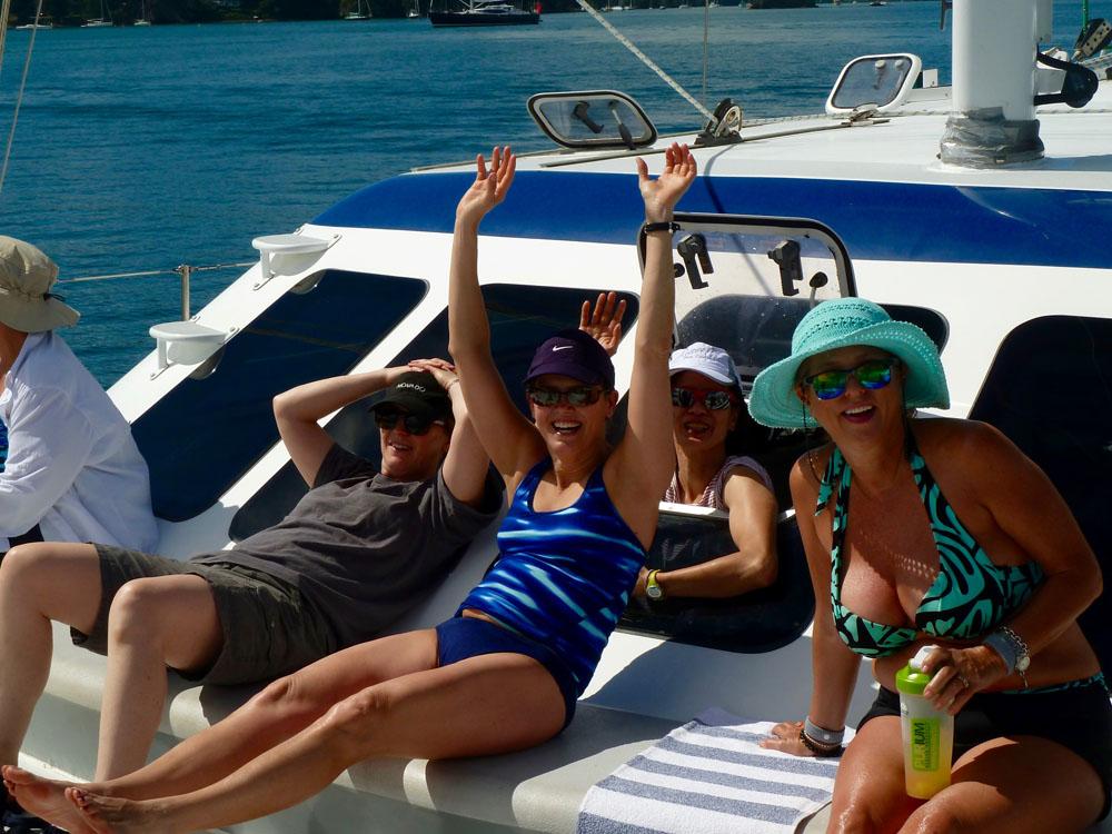 women having fun sailing